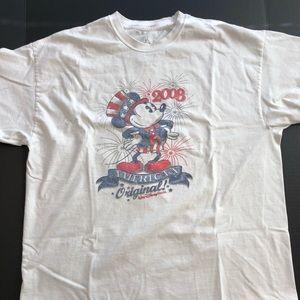 Patriotic Mickey Tee XL Tagless! White SOFT 2008